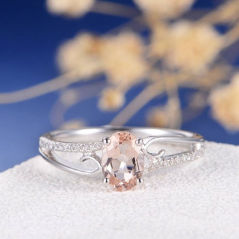 5*7 Oval Morganite Engagement Ring Bridal Anniversary Gift