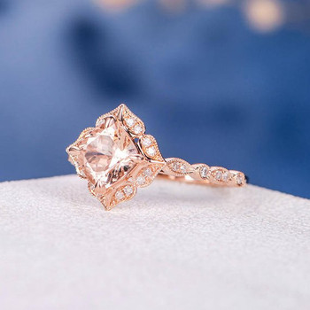 Rose Gold 6mm Cushion Cut Bridal Morganite Ring