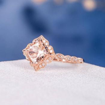 Rose Gold 6mm Cushion Cut Bridal Morganite Ring