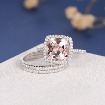 White Gold 9mm Cushion Cut Diamond Wedding Morganite Ring Set