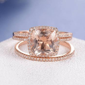 Rose Gold 9mm Cushion Cut Diamond Wedding Morganite Ring Set
