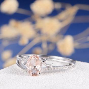 White Gold  5*7 Oval Morganite Engagement Ring Bridal Anniversary Gift