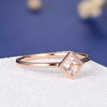 Bezel Set 4mm Princess Cut  Morganite Ring Stacking Minimalist Anniversary Ring