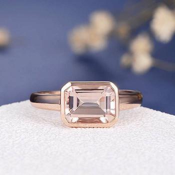 6*8 Emerald Cut Morganite Bezel Set Anniversary Solitaire  Ring