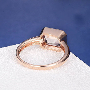 6*8 Emerald Cut Morganite Bezel Set Anniversary Solitaire  Ring