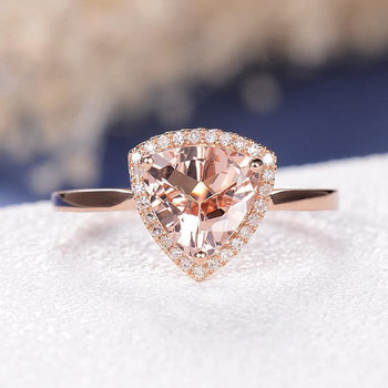 8mm Triangle  Peachy Morganite Ring Rose Gold Anniversary Solitaire