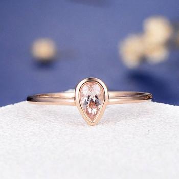 Bezel Set 4*6mm Pear Cut  Morganite Ring Stacking Minimalist Anniversary Ring