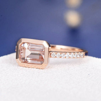 6*8 Emerald Cut  Morganite Bezel Set Anniversary Solitaire  Engagement Ring