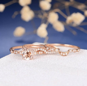 7mm Round Cut Morganite Bridal Set Flower Unique Eternity Wedding Band