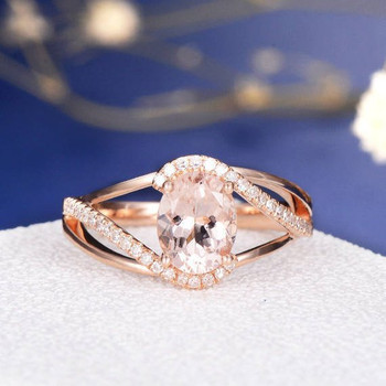 6*8mm Oval Cut  Morganite Split Shank Curved Diamond Halo Anniversary Ring