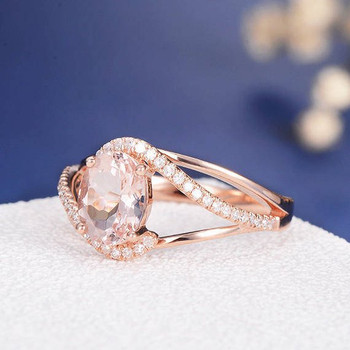 6*8mm Oval Cut  Morganite Split Shank Curved Diamond Halo Anniversary Ring