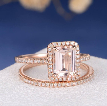 6*8mm Emerald Cut Diamond Wedding Morganite Ring Set