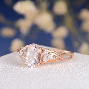 6*8mm  Oval Cut Morganite Cluster Ring Rose Gold
