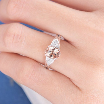 White Gold  6*8mm  Oval Cut Morganite Cluster Ring