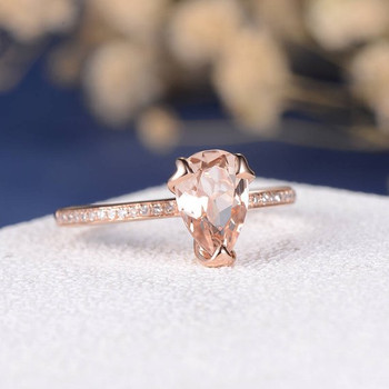 6*9 Pear Shape Peachy Pink Morganite Engagement Ring Rose Gold