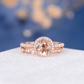 6mm Round Morganite Rose Gold Wedding Ring Set