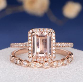 6*8mm Emerald Cut Morganite Bridal Sets Art Deco Wedding Band