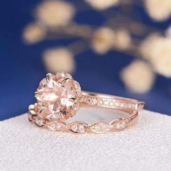 7mm Round Flower Morganite Rose Gold Wedding Ring Set