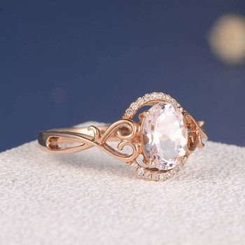 6*8mm Oval Cut Morganite Split Shank Heart Twig Anniversary Ring
