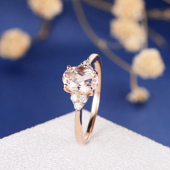 6*8mm Oval Cut Morganite Cluster  Diamond Engagement Ring