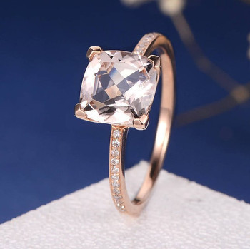 8mm Cushion Cut Half Eternity Bridal Morganite Ring