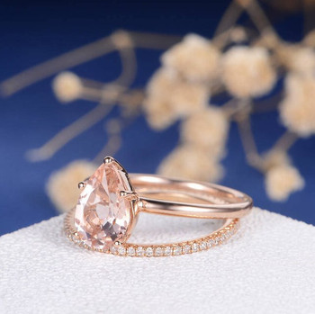 6*9mm Pear Cut Morganite Engagement Full Eternity Pave Band Ring Set