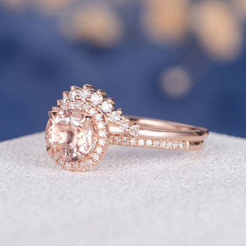 7mm Round  Morganite Halo Diamond  Wedding Ring Set