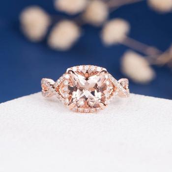 8mm Cushion Cut Morganite Infinity Diamond Pave Halo Promise Ring