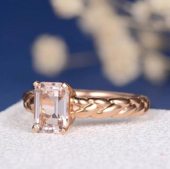 6*8 Emerald Cut  Morganite Anniversary Solitaire Knot Ring