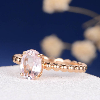 6*8mm Oval Cut  Morganite Anniversary Solitaire Minimalist Ring