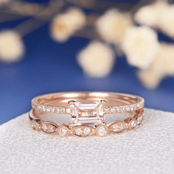 4*6mm Emerald Cut Morganite Bridal Sets Art Deco Wedding Band