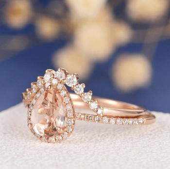 6*8mm Pear Cut  Morganite Halo Diamond  Wedding Ring Set