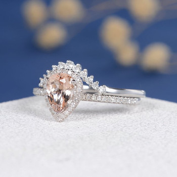 White Gold  6*8mm Pear Cut  Morganite Halo Diamond  Wedding Ring Set
