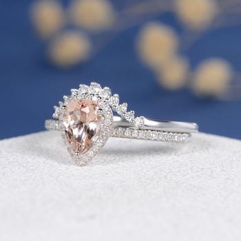 White Gold  6*8mm Pear Cut  Morganite Halo Diamond  Wedding Ring Set