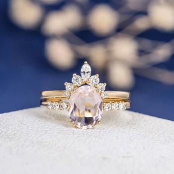 7*9mm Oval Cut Morganite Wedding Ring Rose Gold