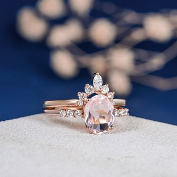 7*9mm Oval Cut Morganite Wedding Ring Rose Gold