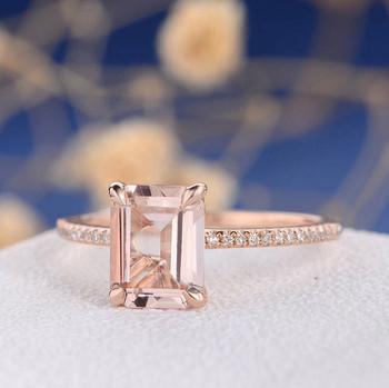 7*9 Emerald Cut  Morganite  Anniversary Solitaire  Engagement Ring