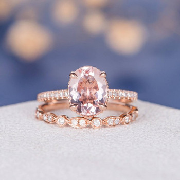 7*9mm Oval Cut Morganite Wedding Ring Anniversary 2pcs