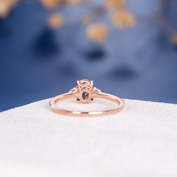 5*7mm Oval Cut Morganite Three Stone Diamond Engagement Ring