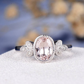 6*8mm Oval Cut Bezel Set Morganite  Engagement Ring