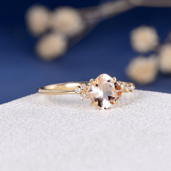 6mm Cushion Cut Morganite Cluster  Diamond Engagement Ring