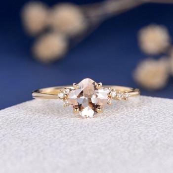 6mm Cushion Cut Morganite Cluster  Diamond Engagement Ring