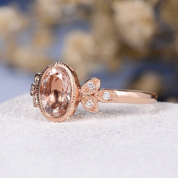 Rose Gold 6*8mm Oval Cut Bezel Set Morganite  Engagement Ring