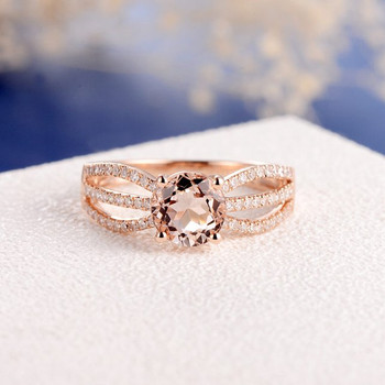7mm Round  Solitaire Split Shank  Morganite Engagement Ring