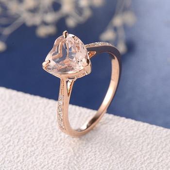 8mm Heart Shaped Morganite Minimalist Engagement Ring