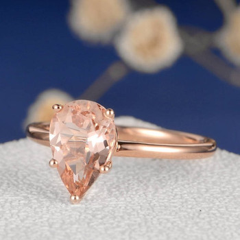 6*9mm Pear Cut  Morganite Ring Stacking Minimalist Anniversary Ring