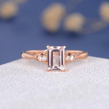 5*7mm Emerald Cut  Morganite Diamond Micro Pave  Engagement Ring