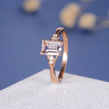 5*7mm Emerald Cut  Morganite Diamond Micro Pave  Engagement Ring
