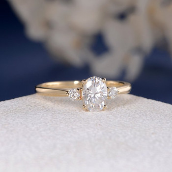 Yellow Gold 5*7mm Oval Cut Moissanite Bridal Ring Three Stone Ring