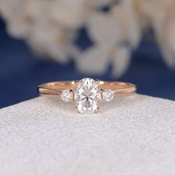 Rose Gold 5*7mm Oval Cut Moissanite Bridal Ring Three Stone Ring